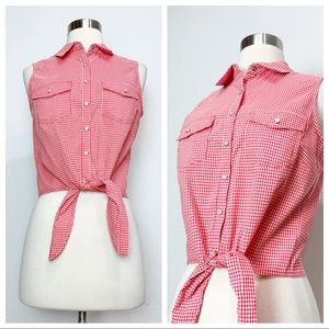 Forever 21 Red Gingham Blouse S